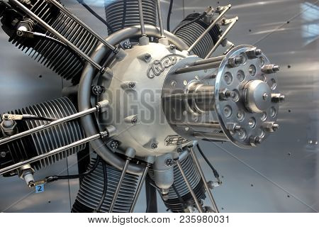 Czech Republic, Prague - September 23, 2017: Vintage Airplane Engine Without A Propeller Close Up