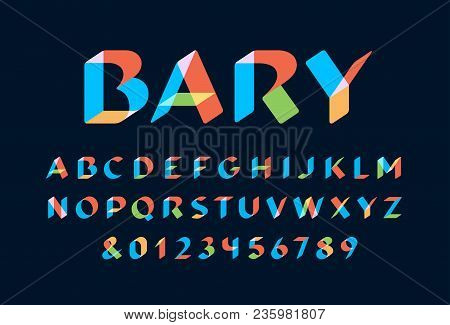 Transparent Font. Vector Alphabet With Overlay Effect Letters And Numbers.