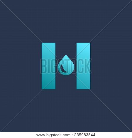 Letter H Water Drop Logo Icon Design Template Elements