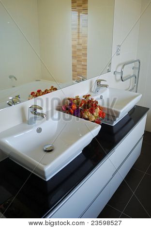 stylish bathroom interior with mirror