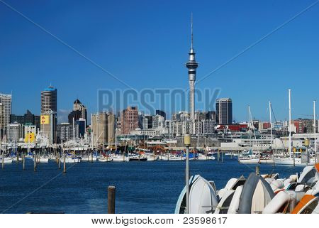 Auckland city on background of blue sky
