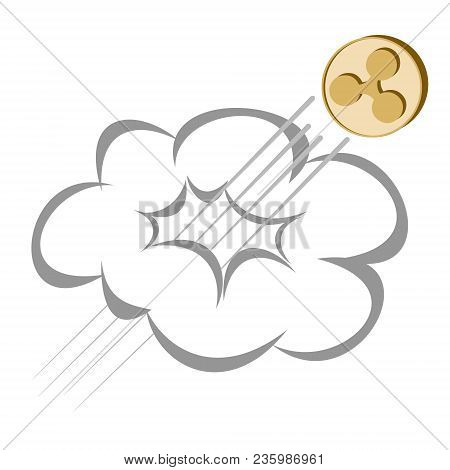 Ripple Coin Rises Through The Cloud On A White Background , Crypto Currency  Flies Upwards ,  Color