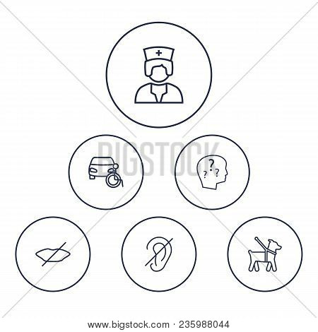 Set Of 6 Accessibility Icons Line Style Set. Collection Of Mute, Car, Guide Dog And Other Elements.