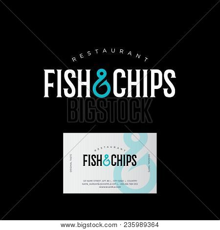 Fish Restaurant Logo. Seafood Kitchen. Fish And Chips Logo. Letters And A Fish Hook. Business Card.