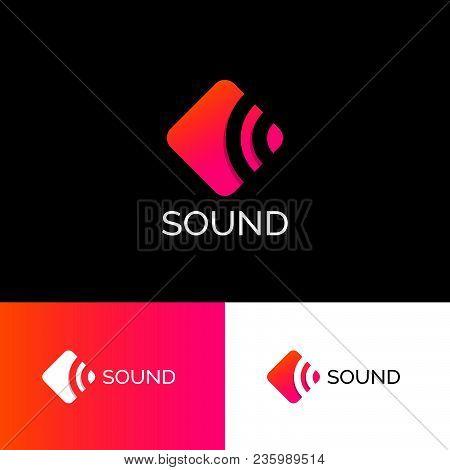 The Sound Of The Logo. Musical Acoustics Logo. Orange-pink Emblem. Identity.
