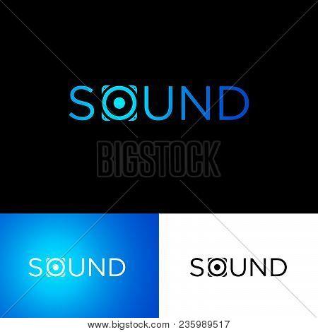 The Sound Of The Logo. Musical Acoustics Logo. Blue Speaker Like The Letter O. Identity.