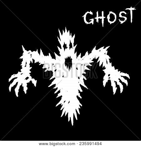 White Ghost Silhouette With Glowing Eyes And Mouth. The Horror Genre. Vector Illustration.