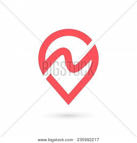 Letter N Geotag Logo Icon Design Template Elements