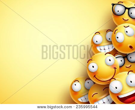 Yellow Smileys Vector Background. Emoticons Or Smileys With Funny And Happy Facial Expressions In Ye