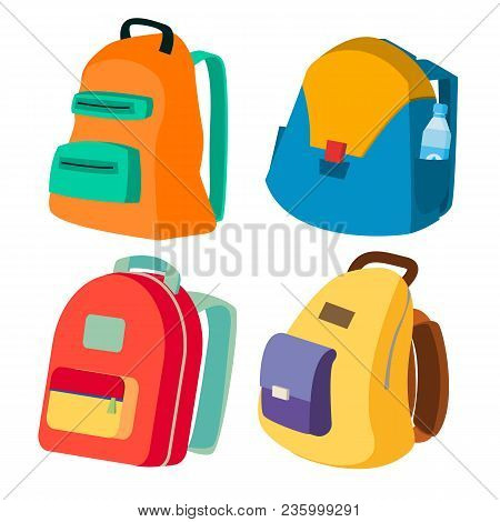 Schoolbag Set Vector. Closed Backpacks Side View. Colored School Modern Backpacks. Isolated Cartoon