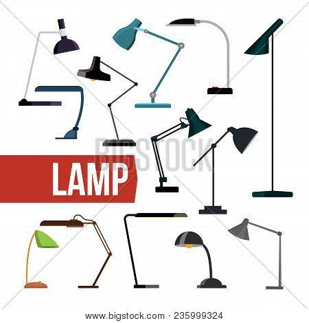 Lamp Set Vector. Table Desk Office Modern Lamps. Indoor Electricity Creative Modern Furniture Light.