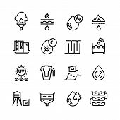 Effluent water treatment. Water purification linear vector icons. Illustration of purification sewer water, sewage filtered poster