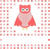 cute owl card. Baby girl arrival announcement card vector poster