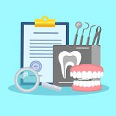 Dental treatment poster. Flat icons of dental prosthesis instruments regular checkup. Colorful template for design prints vector illustration. Isolated on light blue background poster