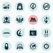 Ramadan icons set with prayer, azan, scripture and other kerchief elements. Isolated  illustration ramadan icons. poster