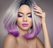 Ombre bob short hairstyle. Beautiful hair coloring woman. Trendy haircuts. Blond model with short shiny hairstyle. Concept Coloring Hair. Beauty Salon. poster