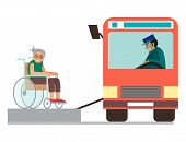 Disabled handicapped diverse people wheelchair invalid person help disability characters vector illustration. Support life disable medical assistance. poster