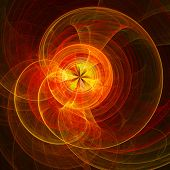 abstract chaos fire rays wheel on dark background poster