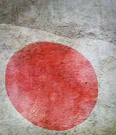 Stylized Image Of Flag Of Japan Against The Old Wall Background