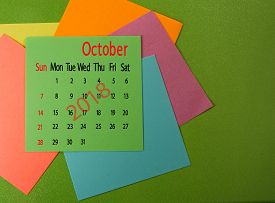 Image Ofcalendar For October 2018 On Green Closeup