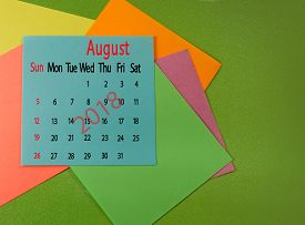 Image Of Calendar For August 2018 On Green Closeup
