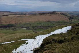 Hillsides Surrounding Mam Tor With Streak Of Snow (derbyshire, England, Uk)