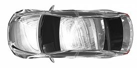 Car Isolated On White - Chrome, Tinted Glass - Top View - 3d Rendering