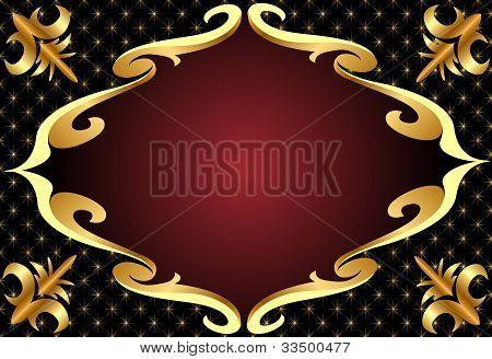 Frame With Gold(en) Pattern On Black Background