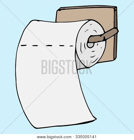 Vector Illustration Of Toilet Paper. Hand Drawn Toilet Paper.