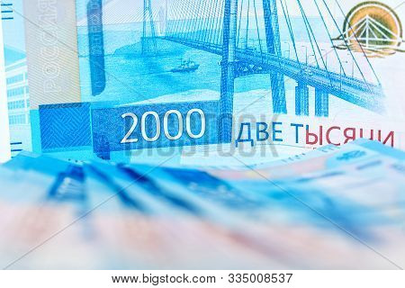 New Cash Banknotes Of Russia With The Image Of The Crimean Bridge, Face Value Of 2000 Rubles. Inflat