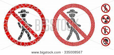 No Walking Mosaic Of Trembly Elements In Various Sizes And Color Tones, Based On No Walking Icon. Ve