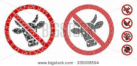 No Beef Mosaic Of Inequal Elements In Different Sizes And Color Tints, Based On No Beef Icon. Vector