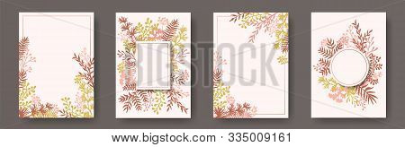 Wild Herb Twigs, Tree Branches, Flowers Floral Invitation Cards Set. Plants Borders Rustic Cards Des