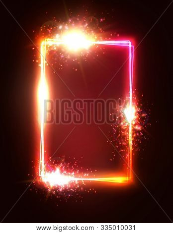 Rectangle Background With Shining Stars Sparkles. Glowing Neon Frame With Blank Text Space. Shining