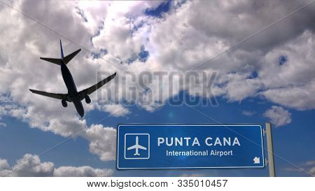 Airplane Silhouette Landing In Punta Cana, Dominican Republic. City Arrival With International Airpo