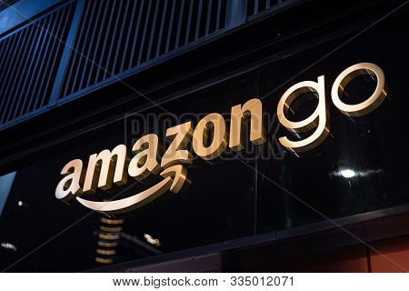 Close Up On The Amazon Go Store Sign Above The Convenience Shop Entrance, At Bryant Park In Manhatta