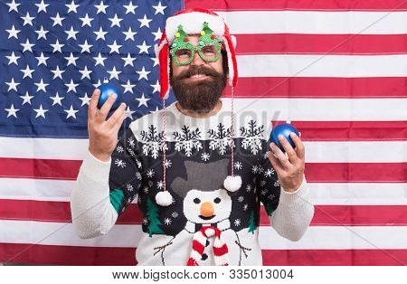 American Celebration. Bearded Man Celebrate Christmas And New Year. Santa Claus In Patriotic Mood. H