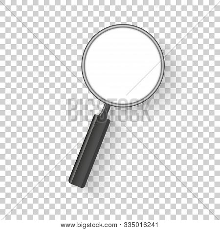 Realistic Magnifier. Magnifying Glass Magnify, Zoom Tools Loupe Scrutiny Lens Optical Microscope. Is