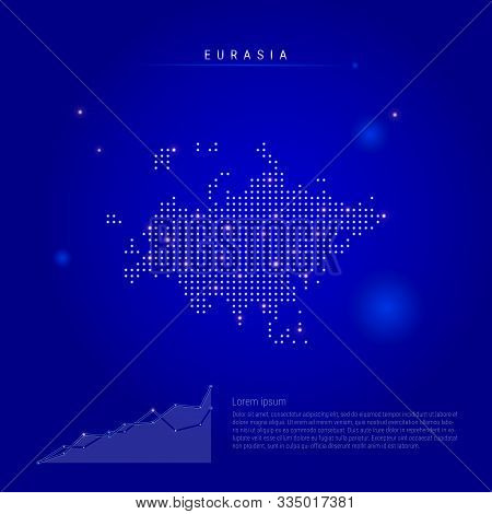 Eurasia Illuminated Map With Glowing Dots. Infographics Elements. Dark Blue Space Background. Vector