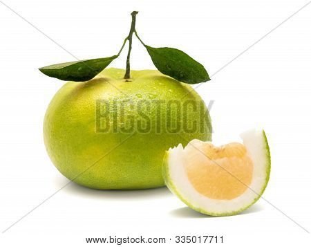 Green Oroblanco Sweetie Citrus Grandis Seedless Hybrid Fruit With A Slice Isolated On White Backgrou