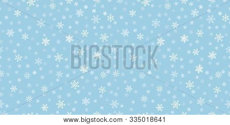 Snowflakes Seamless Background. Subtle Vector Pattern With Small Hand Drawn White Snowflakes On Blue