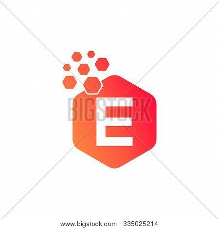 E Dots Logo Design Template. Hexagon E Icon. E Letter Logo Vector. Hexagon Logo, E Letter, E Dots, E