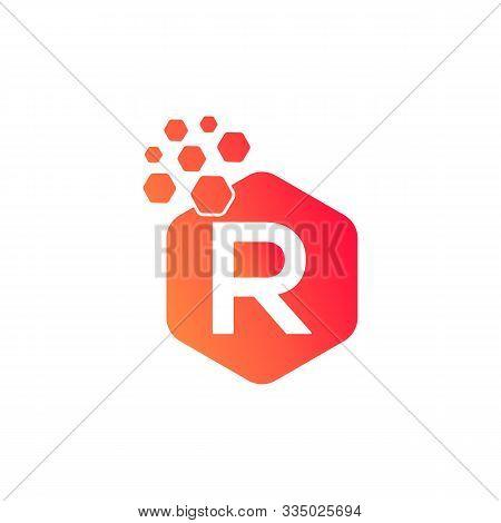 R Dots Logo Design Template. Hexagon R Icon. R Letter Logo Vector. Hexagon Logo, R Letter, R Dots, R
