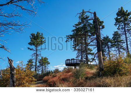 Observation Area To See The Laguna Mountains. Meadows Information Kiosk Trailhead. Mountain On The E