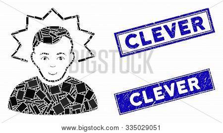 Mosaic Inventor Pictogram And Rectangular Stamps. Flat Vector Inventor Mosaic Pictogram Of Scattered
