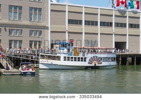 Boston, Usa - Jun. 21, 2017: Paddle Wheel Cruise Lexington Was Docked At Boston Seaport Durning Sail