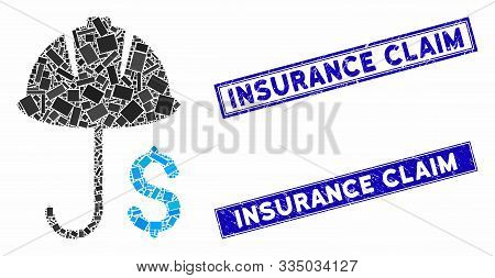 Mosaic Development Financial Coverage Pictogram And Rectangle Seal Stamps. Flat Vector Development F