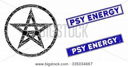 Mosaic Star Pentacle Pictogram And Rectangular Stamps. Flat Vector Star Pentacle Mosaic Pictogram Of