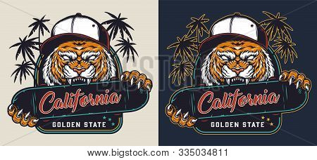 Colorful Skateboarding Label With Aggressive Cruel Tiger In Baseball Cap Holding Skateboard With Tee