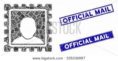Mosaic Postal Mark Pictogram And Rectangle Watermarks. Flat Vector Postal Mark Mosaic Pictogram Of R